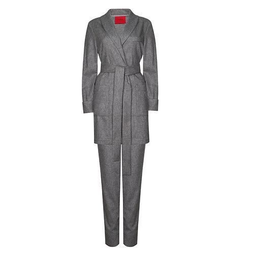 IZBA rouge костюм на запах из натуральной шерсти серого цвета
