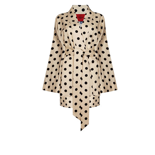IZBA rouge linen lounge suit with kimono and shorts in beige color and polka-dot print