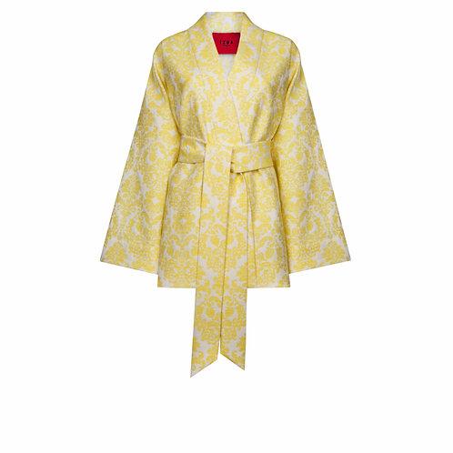 IZBA rouge yellow evening jacquard kimono