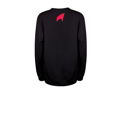 IZBA rouge черный свитшот с вышивкой красного быка на спине