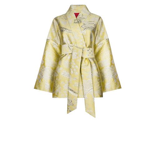 IZBA rouge yellow jacquard kimono with floral print