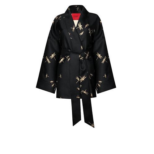 IZBA rouge черное кимоно из жаккарда с вышивкой стрекозы