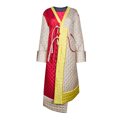 IZBA rouge double-face quilted robe-style coat yellow beige black red