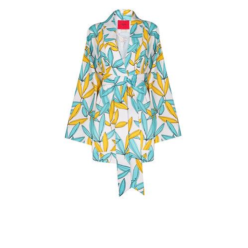 IZBA rouge linen kimono with shorts