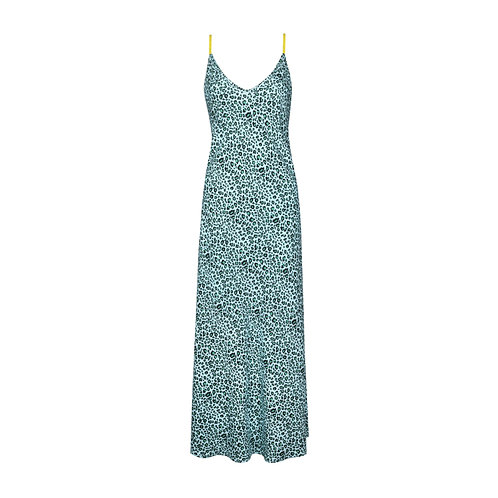 IZBA rouge animal-print mint slip dress