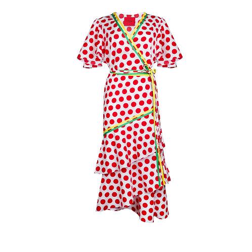 IZBA rouge polka-dot cotton robe-style red dress