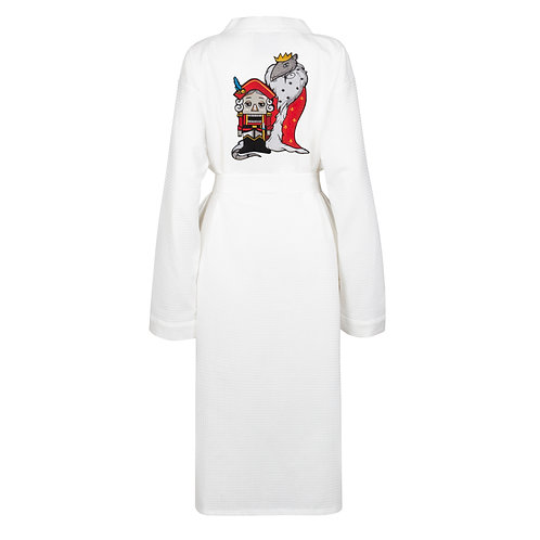 IZBA rouge new year waffle robe with nutcracker and mouse king embroidery