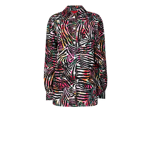 IZBA rouge quilted animal-print shirt