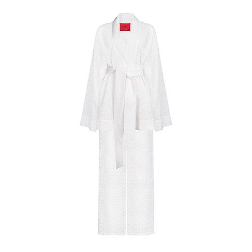 IZBA rouge perforated white cotton kimono with pants