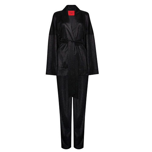 IZBA rouge New Year collection black glitter kimono with pants