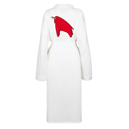 IZBA rouge waffle new year robe with bull embroidery