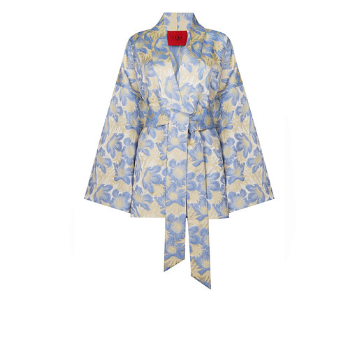 IZBA rouge floral print light blue jacquard kimono