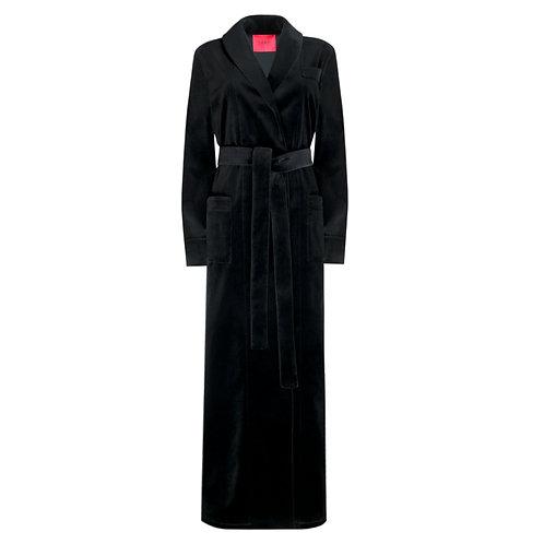 IZBA rouge black cotton velvet robe-style dress