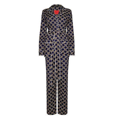 IZBA rouge пижамный костюм из темно-синего хлопка с принтом цепи