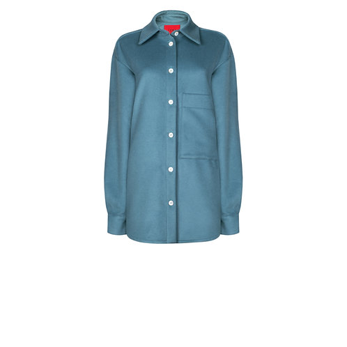IZBA rouge oversized wool shirt in aquamarine color