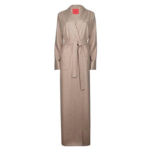 IZBA rouge пальто-халат из бежевой шерсти в полоску