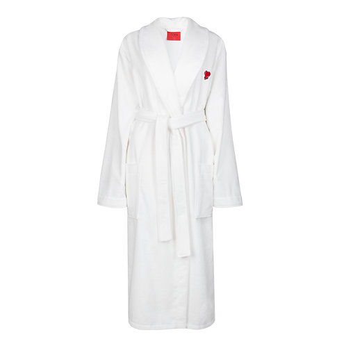 IZBA rouge terry-cotton robe with heart embroidery