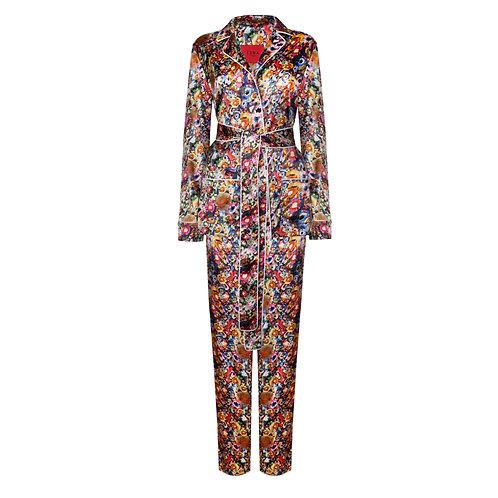 IZBA rouge colorful silk pajama suit