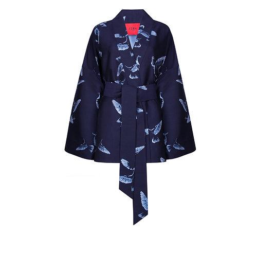 IZBA rouge navy blue jacquard kimono with birds