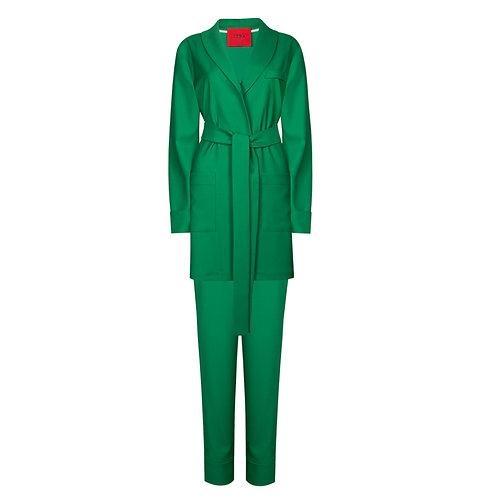 IZBA rouge костюм в пижамном стиле зеленого цвета из шерсти