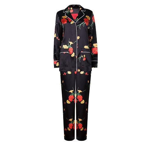 Black silk pajama suit €472 / $522
