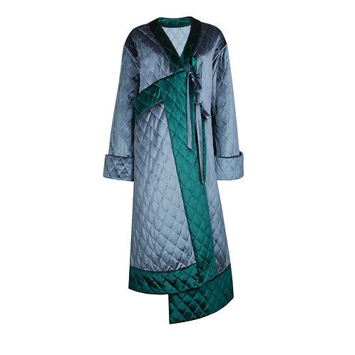IZBA rouge quilted velvet kimono style robe-style coat blue & green