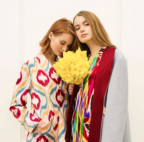 Colorful silk and cotton pajamas and robes with ikat