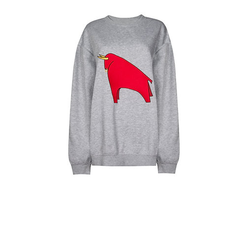IZBA rouge grey sweatshirt with red bull embroidery