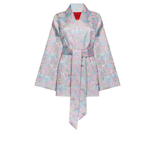 IZBA rouge floral-print blue kimono