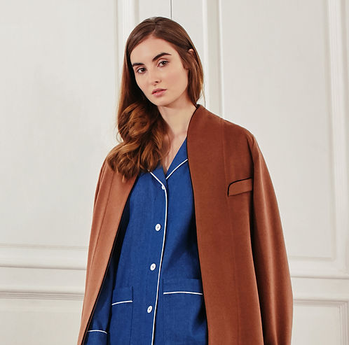 Cashmere and denim robe and pajams