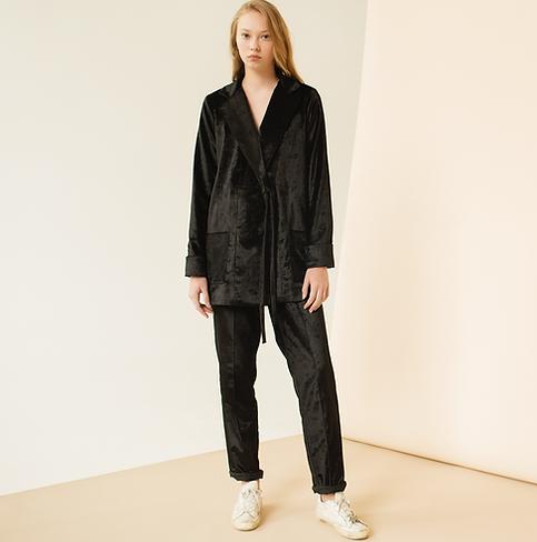 Black velvet pajama style suit