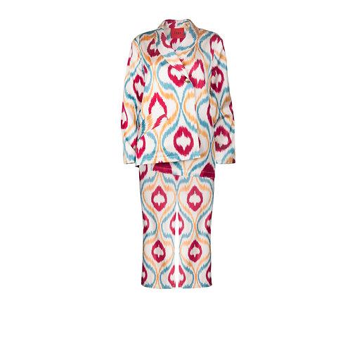 IZBA rouge яркий костюм из шелковой ручной ткани с асимметричным пиджаком и кюлотами