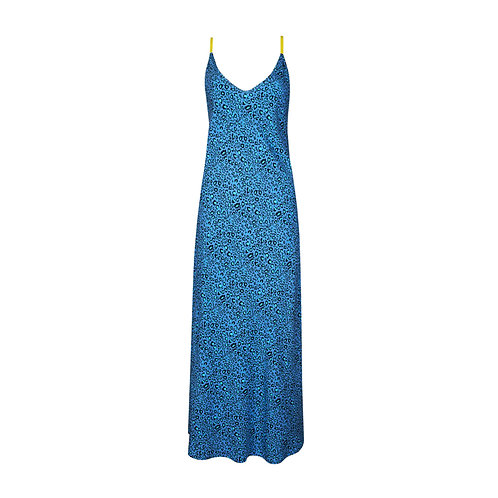 IZBA rouge animal-print blue slip dress