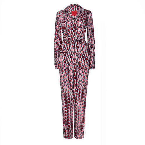 Red printed pajama suit with graphic pattern €331 / $366
