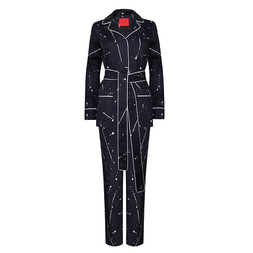 IZBA rouge cotton pajama suit with splash of white paintings