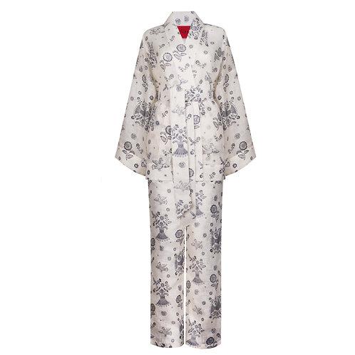 IZBA rouge blue linen printed kimono with pants