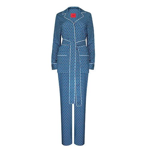 IZBA rouge printed pajama suit with belt blue
