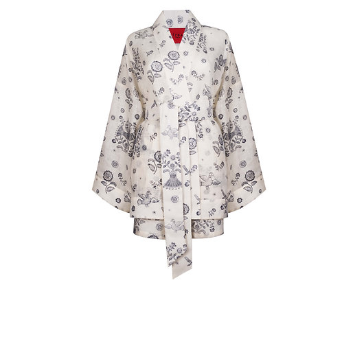 IZBA rouge blue linen printed kimono with shorts
