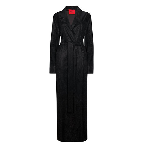 IZBA rouge New Year collection black robe-style dress with lurex