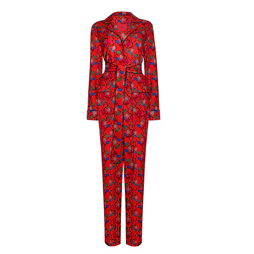 IZBA rouge pajama suit for outdoor orange-red with floral-print