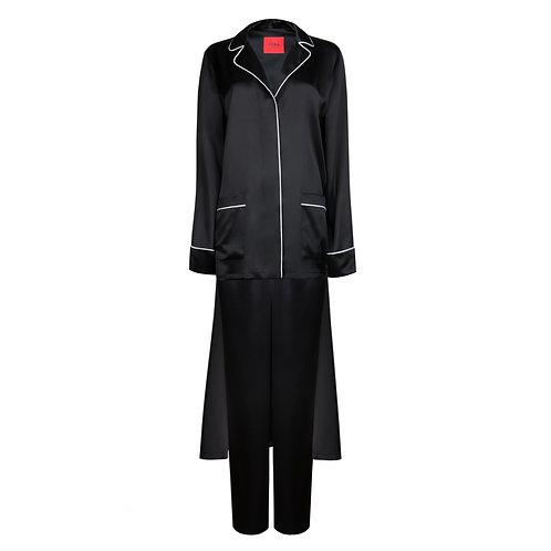 IZBA rouge пижама-смокинг из черного шелка