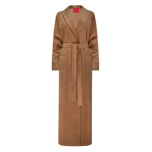 IZBA rouge cotton velvet camel robe-style coat for outdoor autumn collection