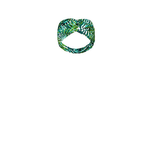 IZBA rouge green tropical-print linen headband