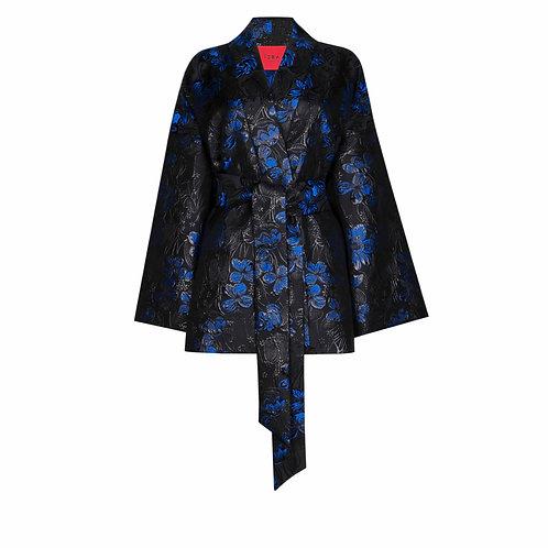 IZBA rouge black jacquard kimono with floral-print