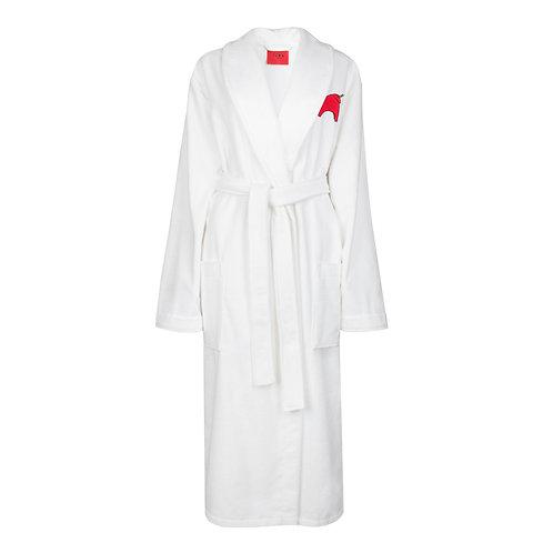 IZBA rouge белый махровый халат с вышивкой красного быка