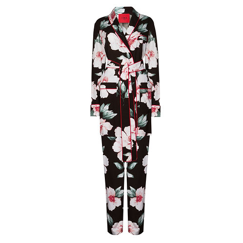 IZBA rouge floral-print pajama suit
