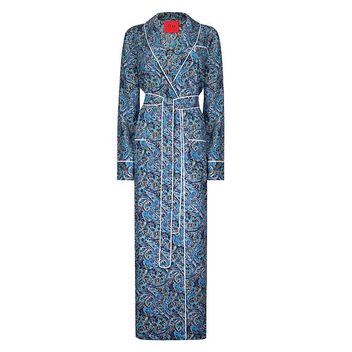 IZBA rouge pailsey-print robe-style dress blue