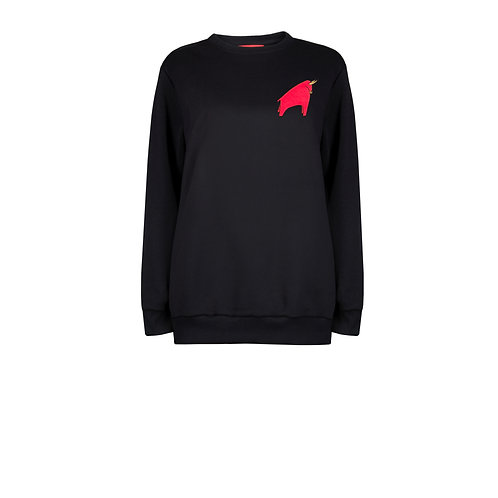 IZBA rouge new year gift black sweatshirt with red bull embroidery on the back