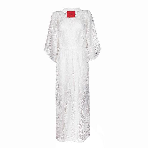 IZBA rouge white lace cotton robe-style dress