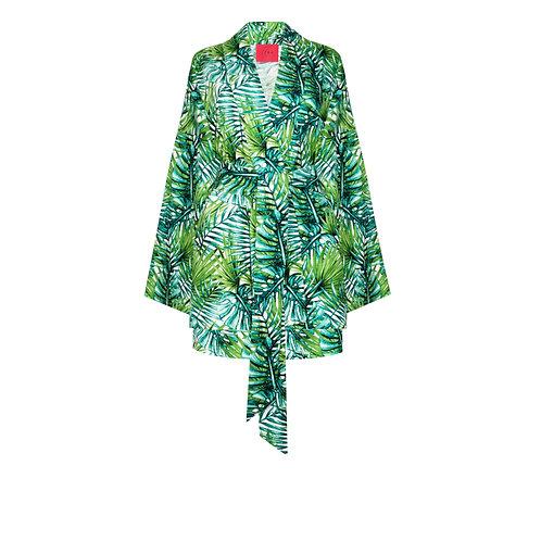 IZBA rouge зеленое кимоно с шортами из льна с тропическим принтом